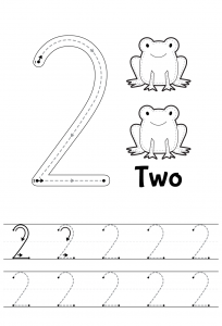 number 2 tracing worksheets easy