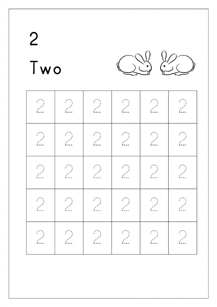 number 2 tracing worksheets printable