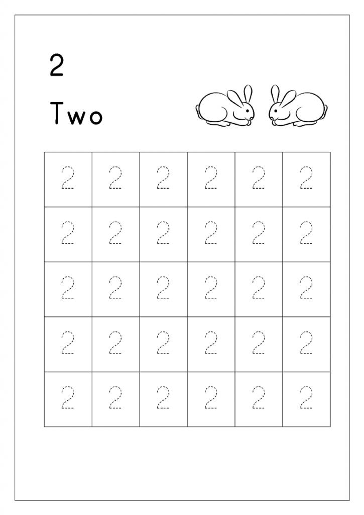 number 2 tracing worksheets printable