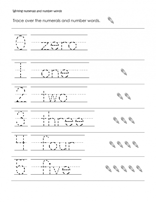 number words activities page zero to five tracing worksheet