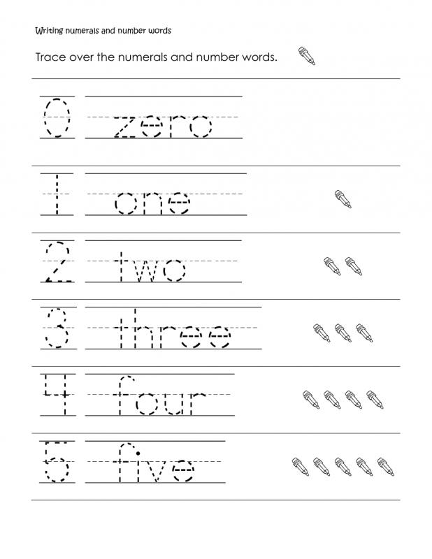 number words activities page zero to five tracing worksheet