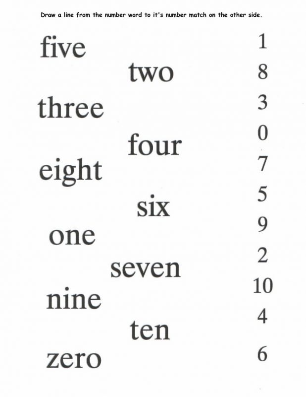 number words activities printable matching number and word from one to ten