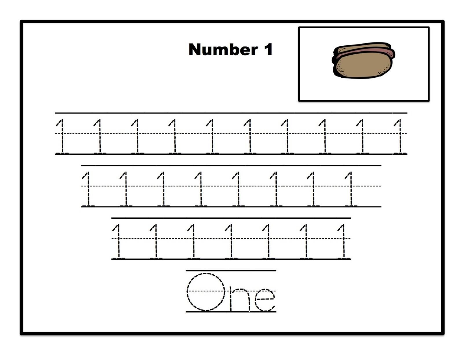 number 1 tracing worksheets for preschool easy