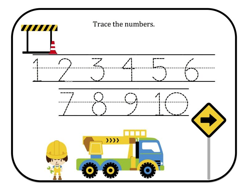 number worksheets for preschool tracing 1-10