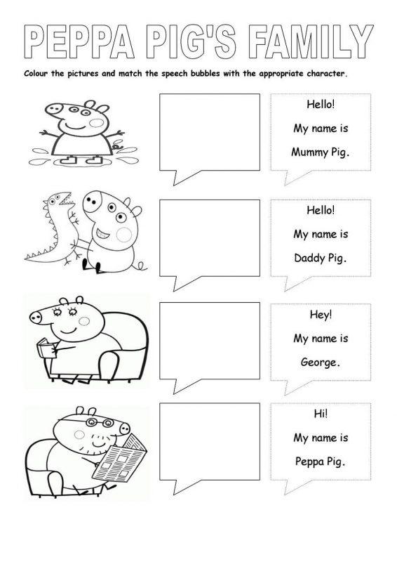 peppa pig worksheets first grade activity