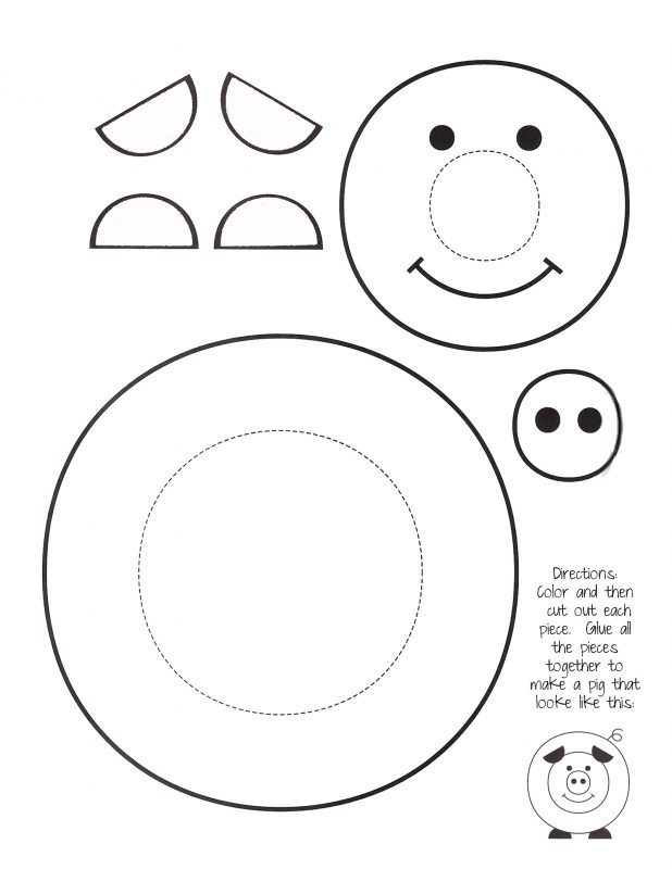 pig worksheets first grade cut out template