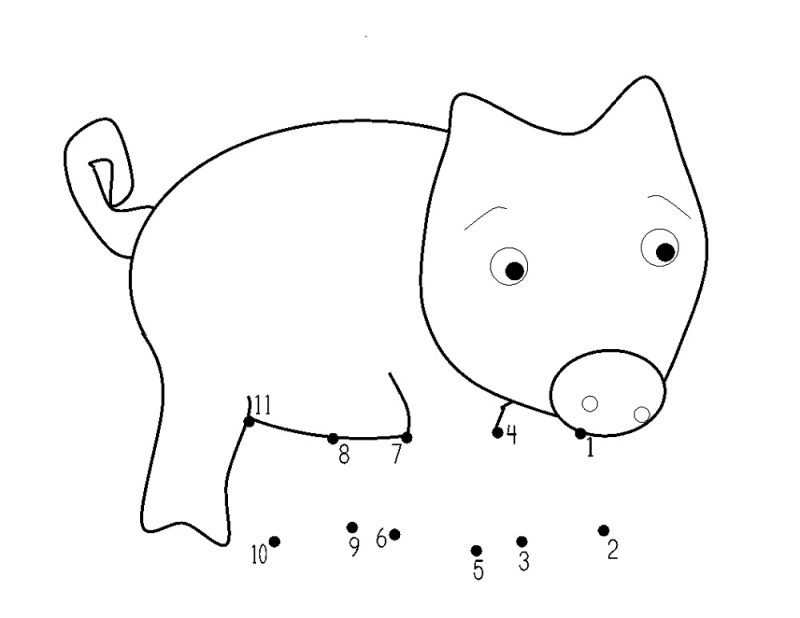 pig worksheets first grade dot to dot