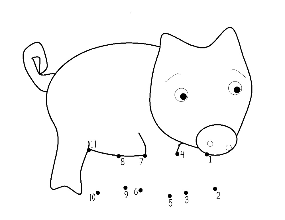Pig Worksheets First Grade Dot To Dot Learning Printable