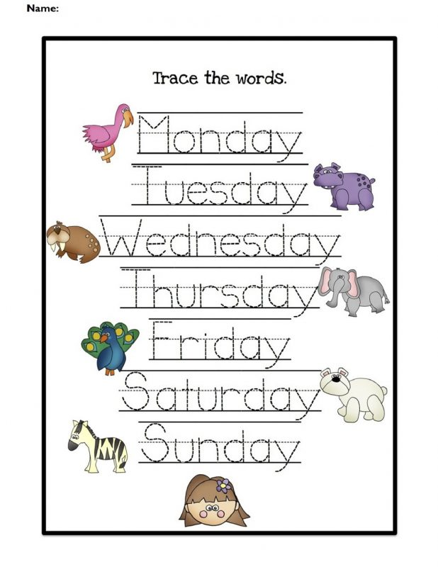 practice days of the week worksheets  for kids tracing