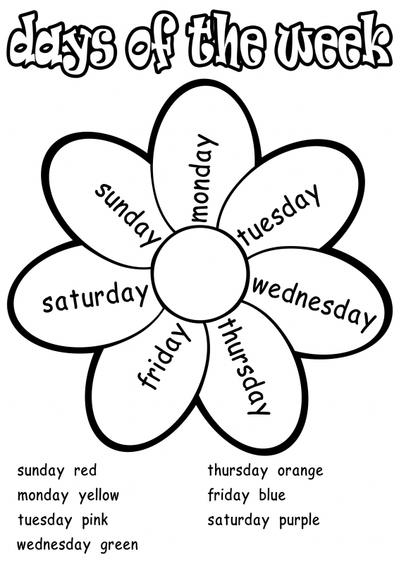 practice days of the week fun coloring