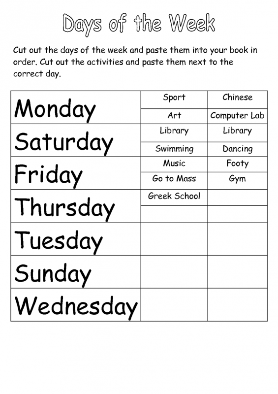practice days of the week cut out paper worksheet