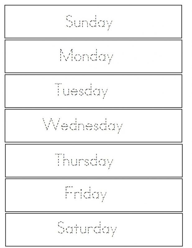practice days of the week tracing sheet