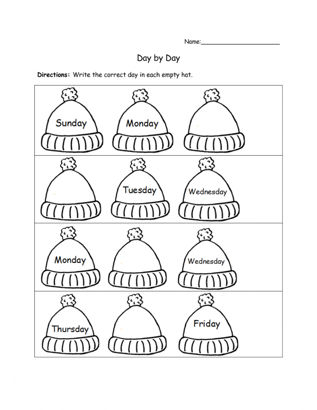 practice days of the week worksheet for grade 1