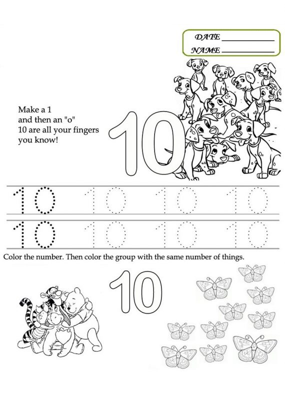 Preschool Number 10 Worksheets Learning Printable. Preschool Number 10 Worksheet Fun. Worksheet. Make 10 Worksheets At Clickcart.co