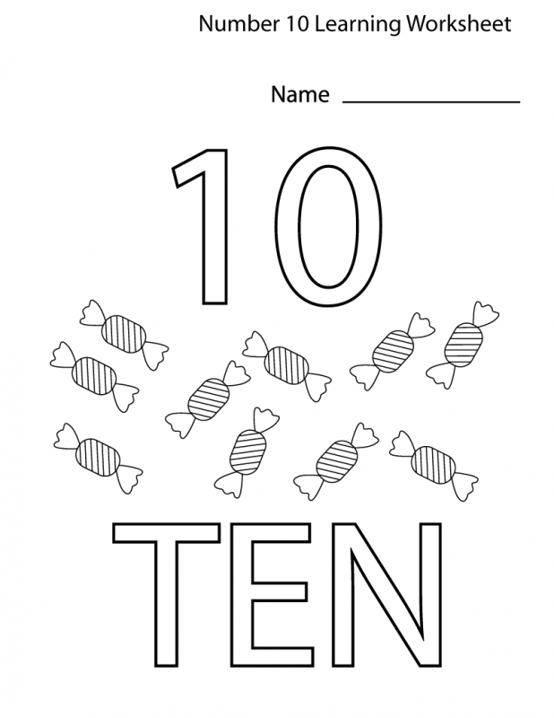 preschool number 10 worksheet kids