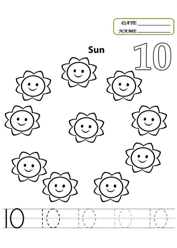 preschool number 10 worksheet printable