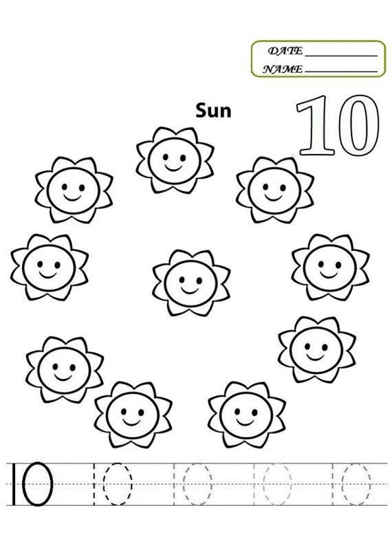 preschool number 10 worksheet printable