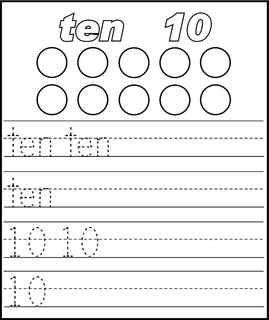 preschool number 10 worksheet tracing