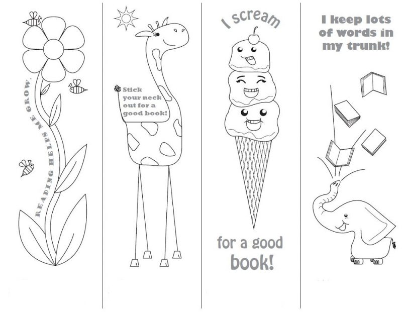 reading bookmarks to colour in for kids