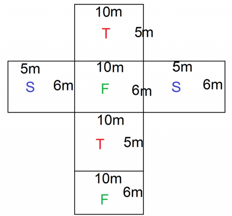 rectangular prism net object with length