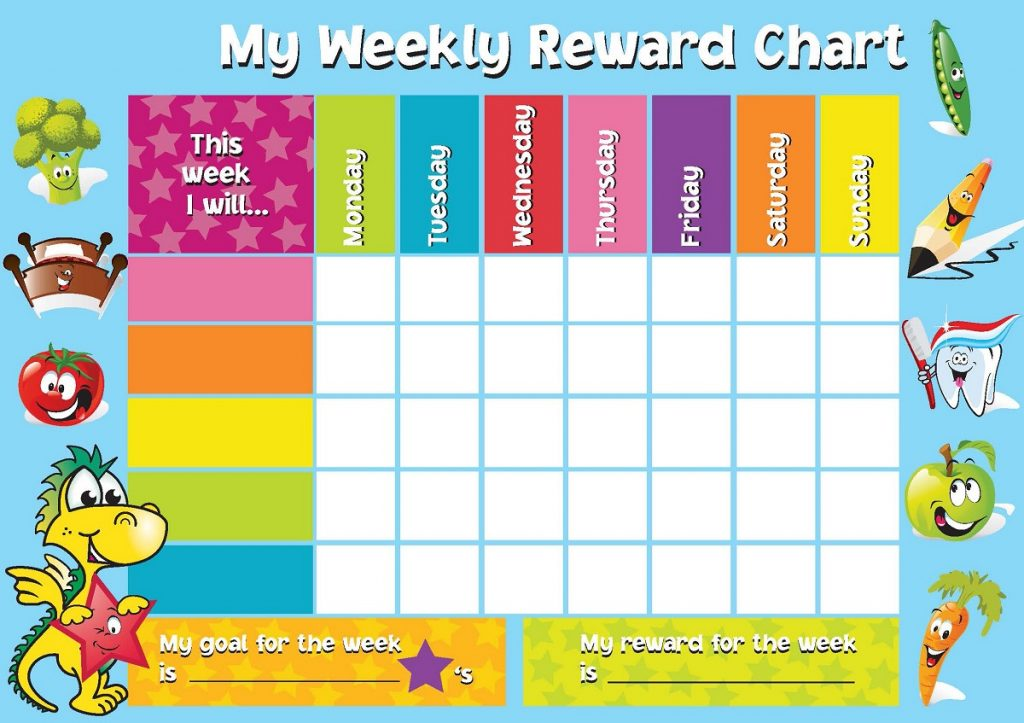 printable rewarding chart for kids weekly