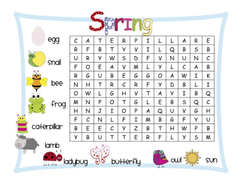 spring word search printables for kids