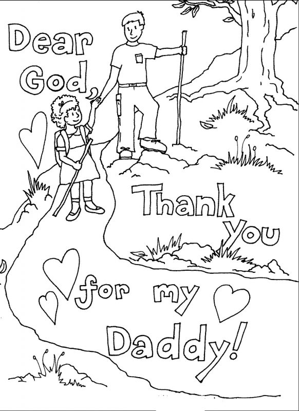 thank you colouring sheet for kids daddy