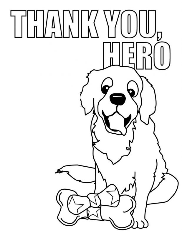 thank you colouring sheet for kids hero