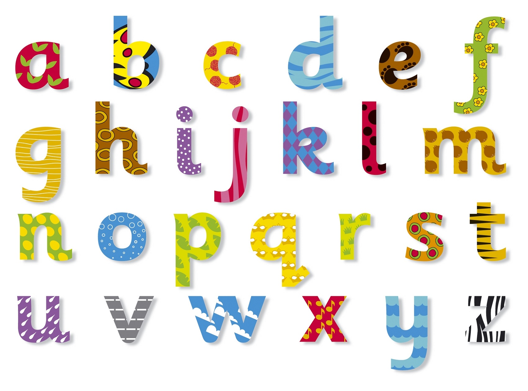 the alphabet lower case colorful
