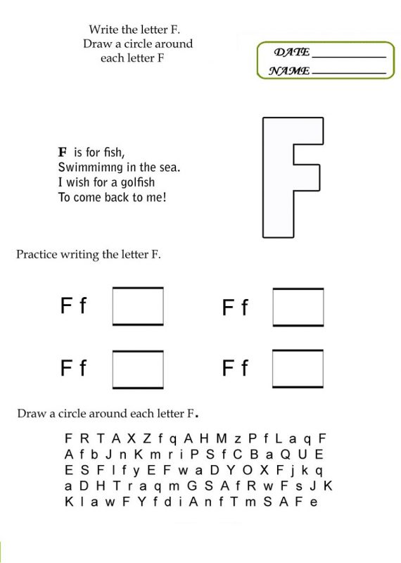 the letter f worksheets activity