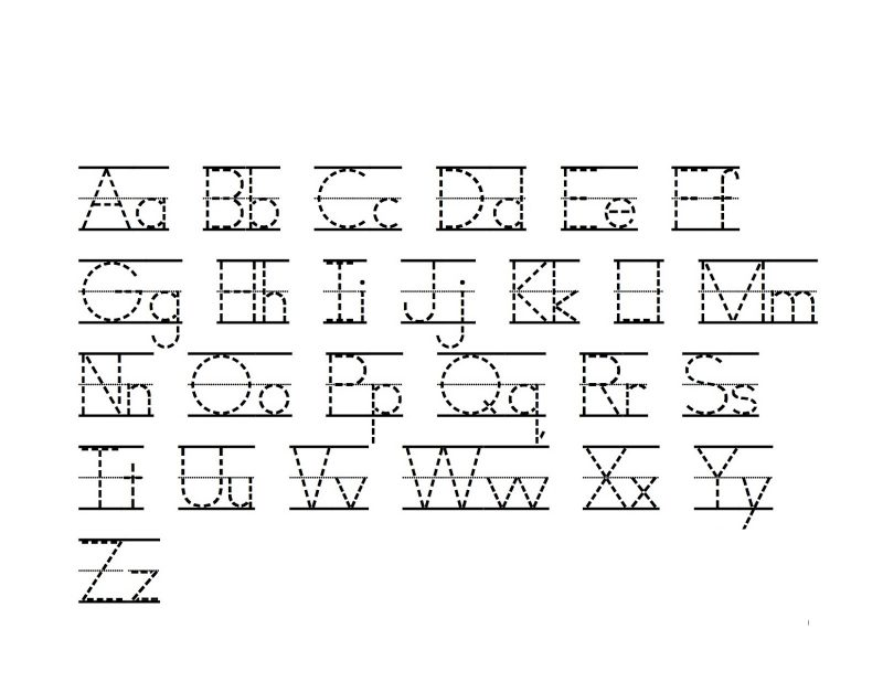 trace lowercase and uppercase alphabet sheet