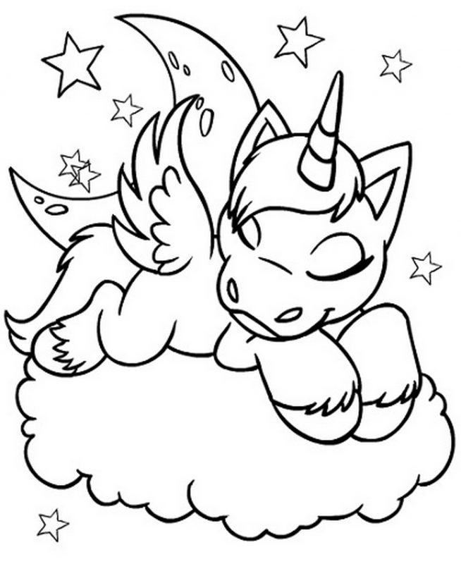 This is an image of Magic Unicorn Coloring Pages Free Printable