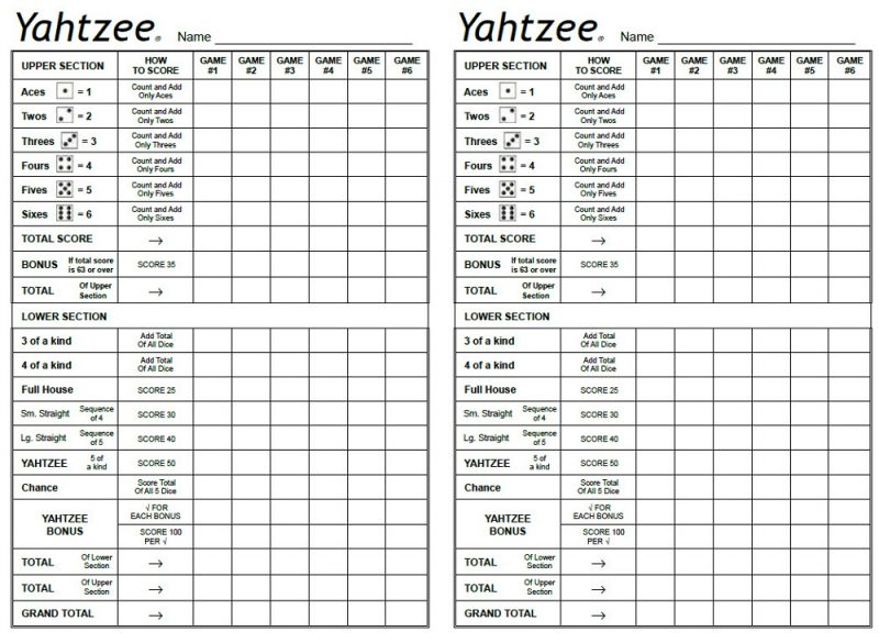 yahtzee sheets free printable
