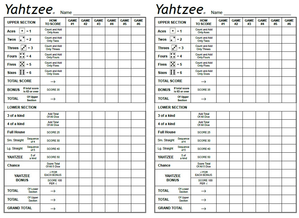 graphic about Yahtzee Sheets Printable identified as yahtzee sheets cost-free Discovering Printable