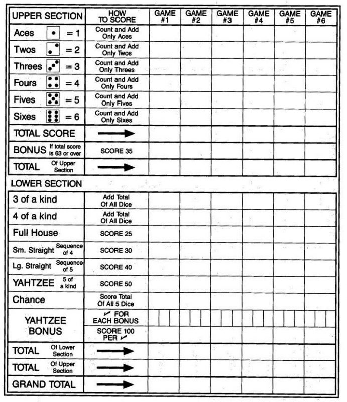 picture about Free Printable Yahtzee Score Cards identify Absolutely free Printable Yahtzee Sheets Studying Printable