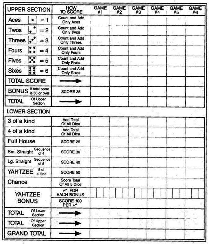 Free Printable Yahtzee Sheets  Learning Printable