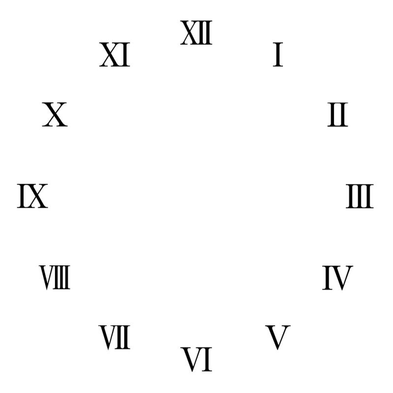 1-12 roman numerals downloads clock blank