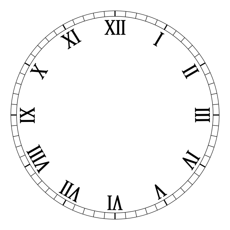 1-12 Roman Numerals Clock Face | Learning Printable
