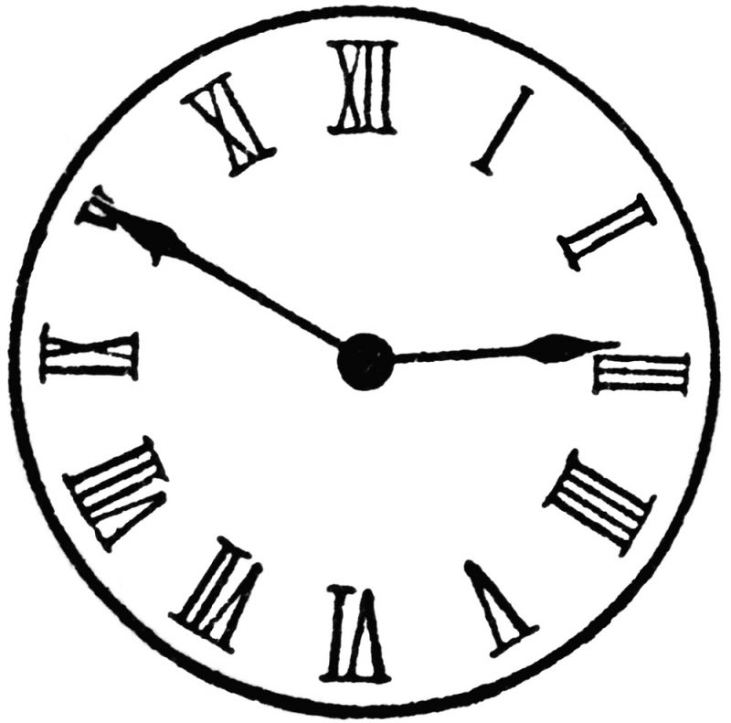 Line Drawing Clock Face : Roman numerals clock face learning printable