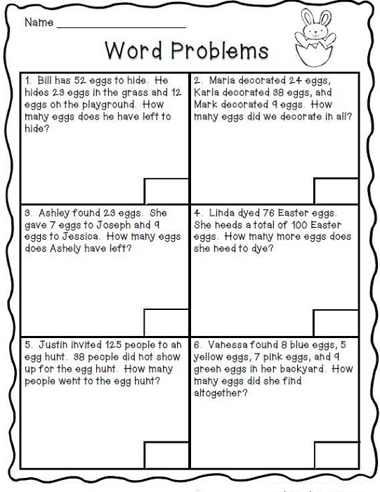 2nd Grade Math Worksheets Word Problems Learning Printable