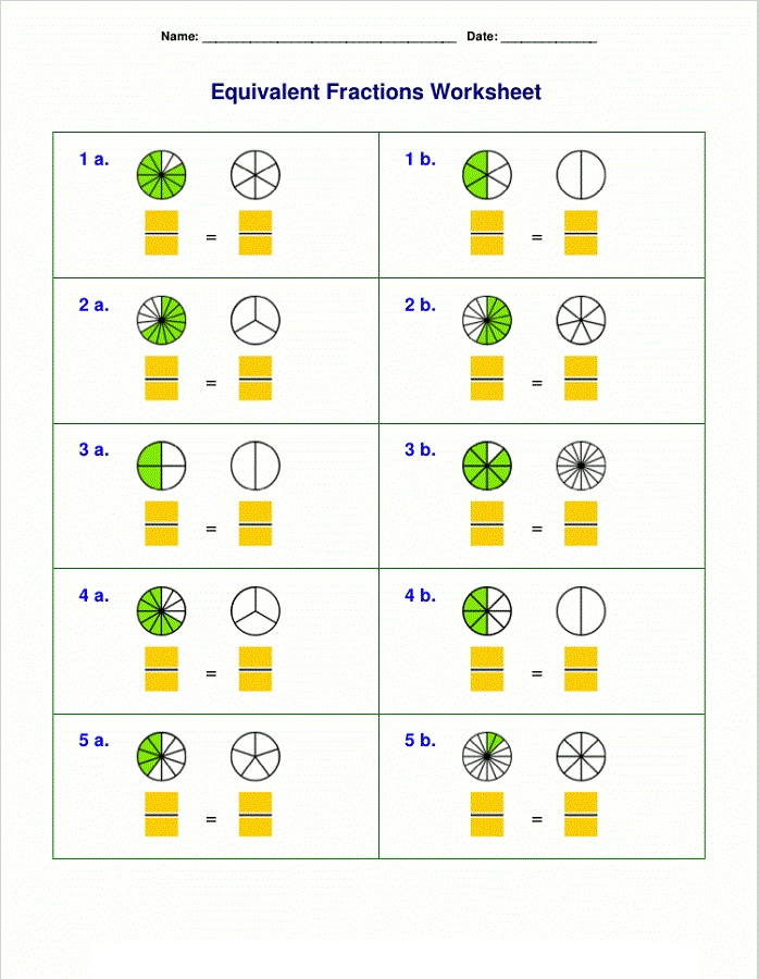 Fraction practice worksheets for 4th grade