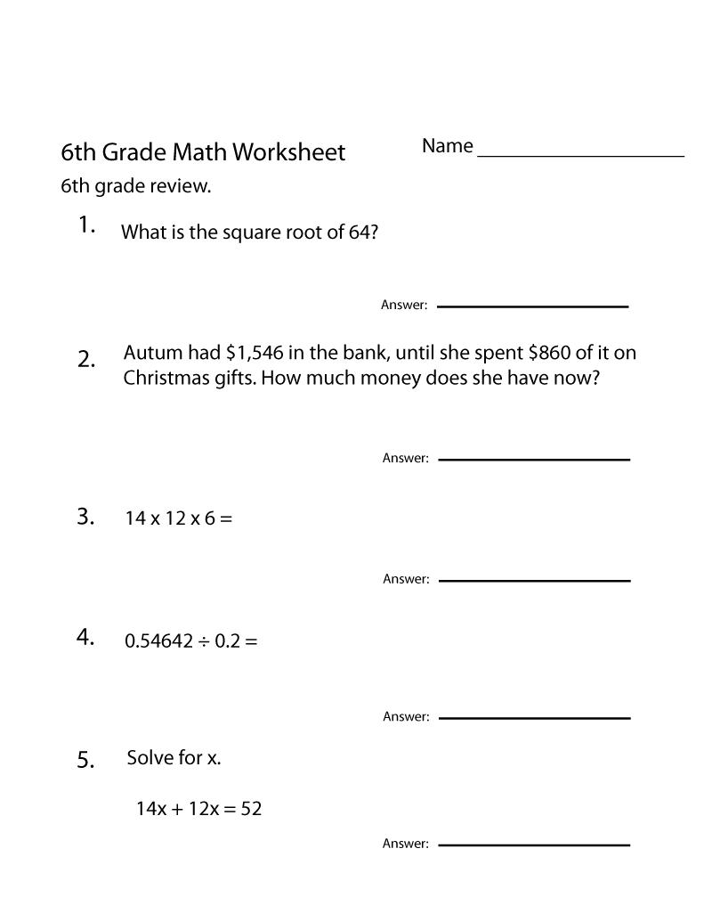 6th Grade Worksheets Questions