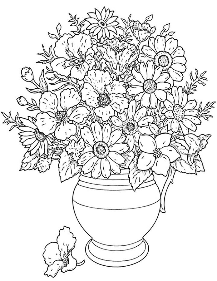 Free Coloring Pages Flowers for Adults