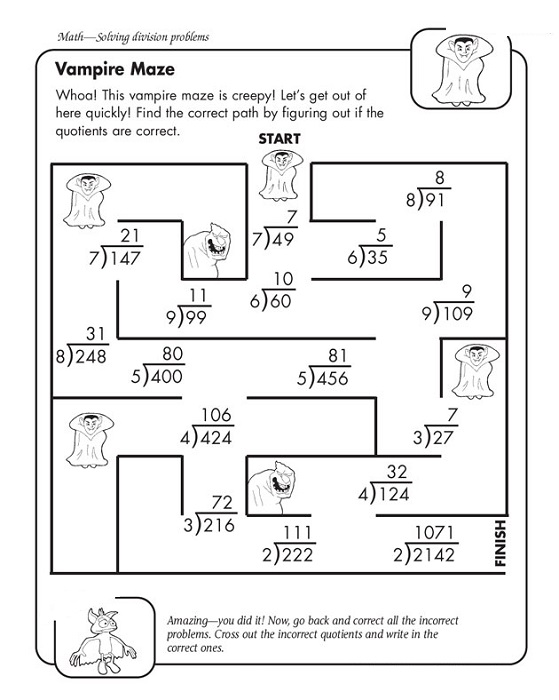 Fun division 4th grade math worksheets