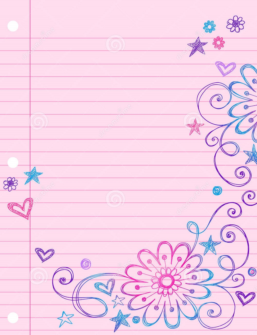 Lined Notebook Paper Template pink background