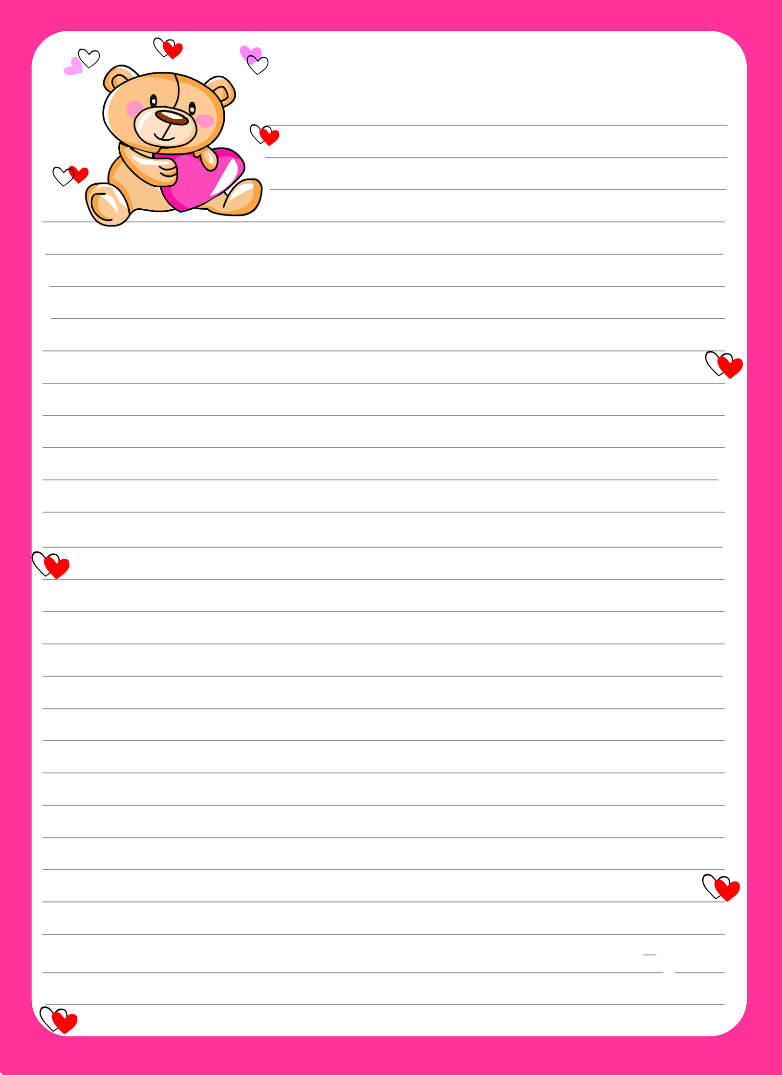 Lined Notebook Paper Template pink borders – Learning Printable