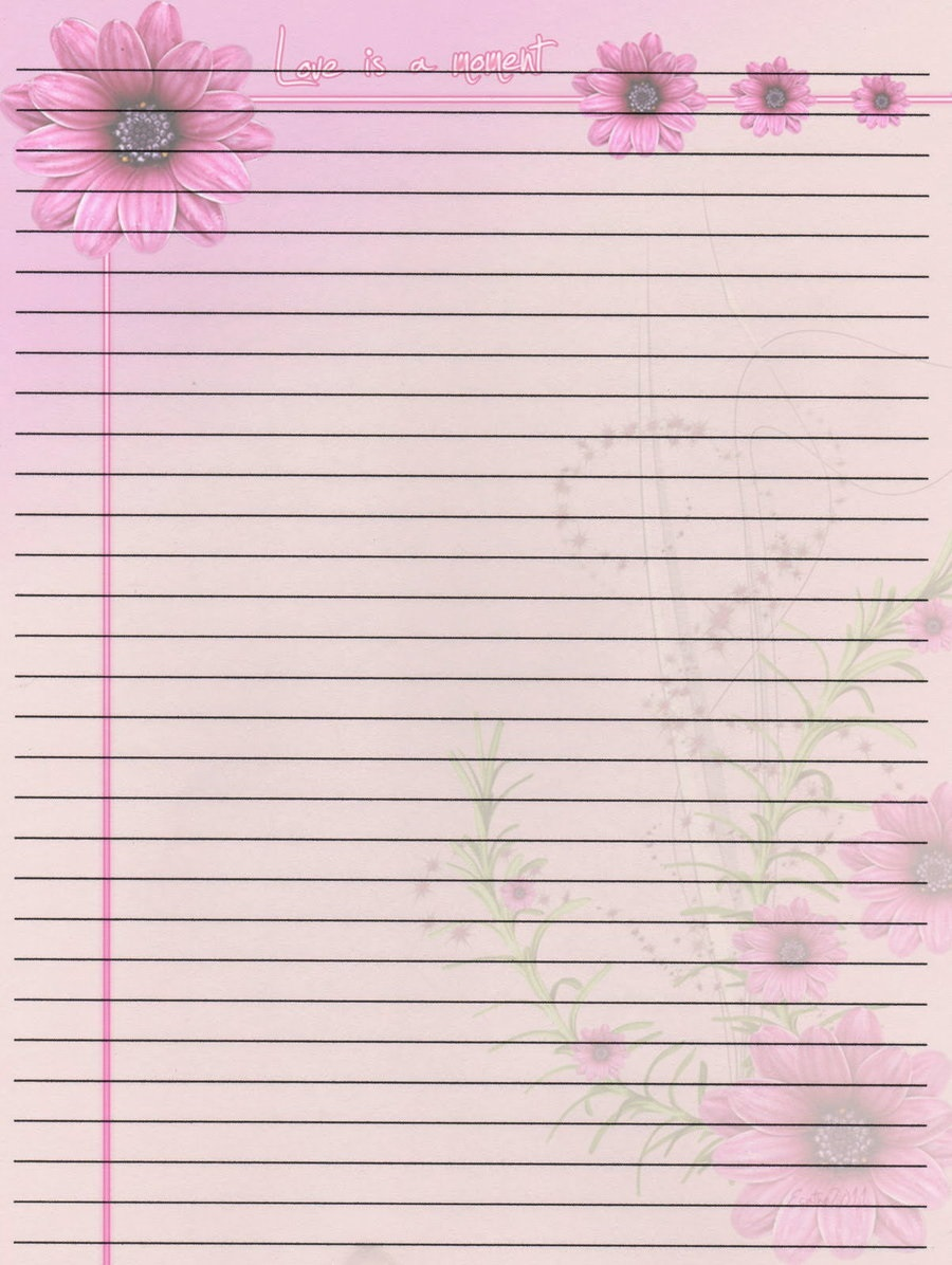 Lined Notebook Paper Template pink flower