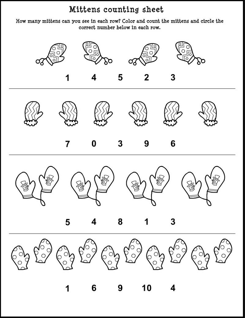 Math Worksheet for Nursery Class