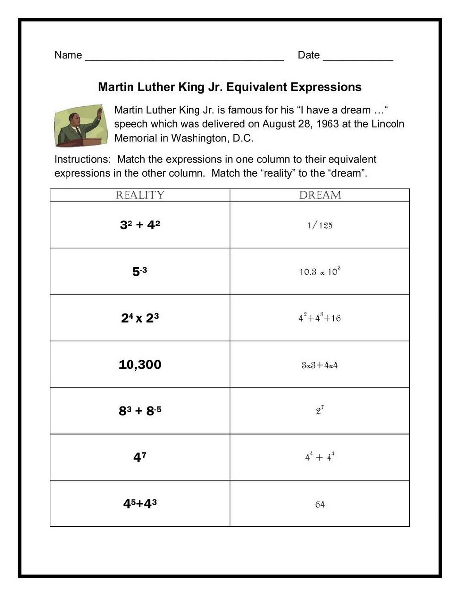 Math worksheets land match the expression