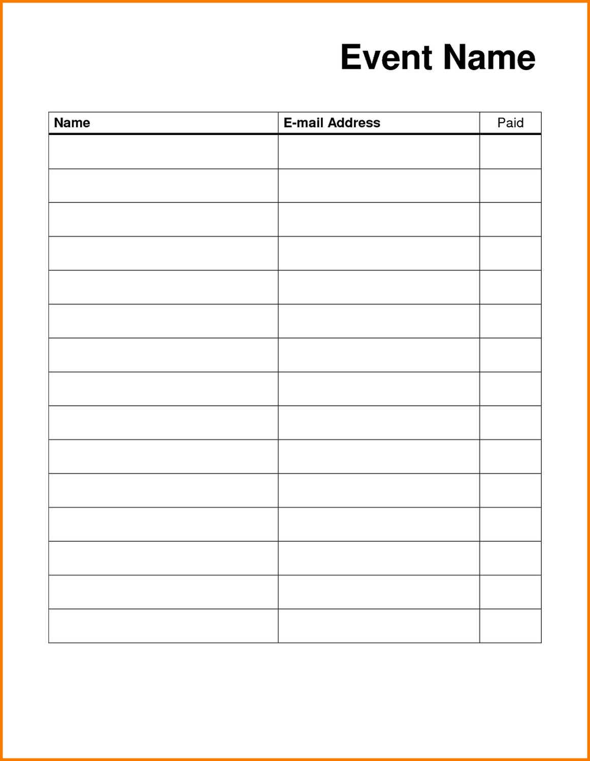 Printable Sign Up List event